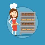 Hållande magasin för lycklig ung kvinnlig bagare av bröd Royaltyfri Bild