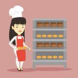 Hållande magasin för lycklig ung kvinnlig bagare av bröd Arkivbild