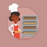 Hållande magasin för lycklig ung kvinnlig bagare av bröd Fotografering för Bildbyråer