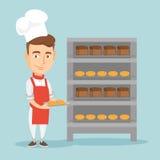 Hållande magasin för lycklig ung manlig bagare av bröd royaltyfri illustrationer