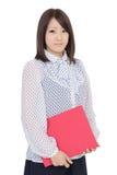 Hållande mapp för ung asiatisk affärskvinna Royaltyfri Fotografi