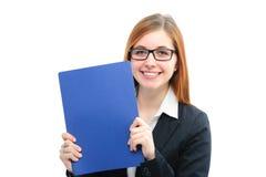 Hållande mappar för kvinna för en jobbintervju Royaltyfri Foto