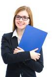 Hållande mappar för kvinna för en jobbintervju Arkivbilder