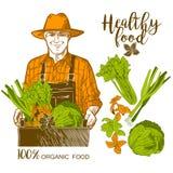 Hållande mat för bonde Arkivfoton