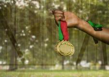 Hållande medaljer för hand med den gröna genomskinliga naturen Royaltyfria Bilder