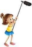 Hållande mikrofon för flicka för att filma film stock illustrationer