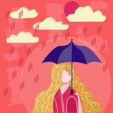 Hållande paraply för flicka i regnig dag stock illustrationer