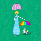 Hållande paraply för gullig flicka i regnillustrationen Arkivbilder