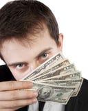 Hållande pengar för affärsman Arkivfoto