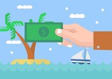 Hållande pengar för hand med landskap för sommarsemester Fotografering för Bildbyråer