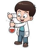 Hållande provrör för liten forskare stock illustrationer