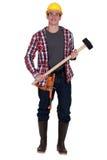 Hållande pulka-hammare för arbetare Royaltyfria Bilder