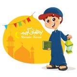Hållande Quranbok för ung muslimsk pojke stock illustrationer
