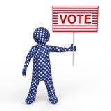 hållande röstningplakat för man 3d Royaltyfri Fotografi