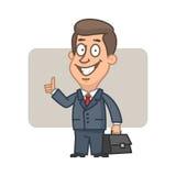 Hållande resväska- och visningtummar för affärsman upp stock illustrationer