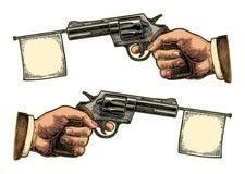 Hållande revolver för manlig hand med flaggan för text Illustrationer för vektorgravyrtappning stock illustrationer