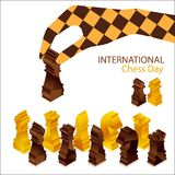 Hållande schackstycke för hand royaltyfri illustrationer