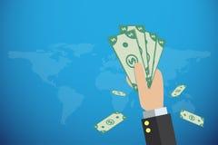 Hållande sedlar för affärshand med världskartan, finansiellt och affärsidé Royaltyfria Bilder