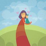 Hållande småbarnomfamning för moder utomhus royaltyfri illustrationer