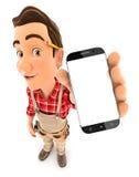 hållande smartphone för faktotum 3d Arkivfoton
