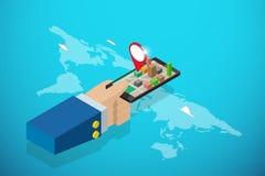 Hållande smartphone för isometrisk affärshand med det röda stiftet, navigering och affärsidé Arkivfoto