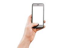 Hållande smartphone för manlig hand Royaltyfri Fotografi