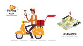 Hållande smartphone för pizzaleveranspojke för att se kundlägeöversikten royaltyfri illustrationer