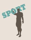 Hållande sportord för muskulös man kvinna för vektor för attraktiv asksilhouette sittande vektor illustrationer