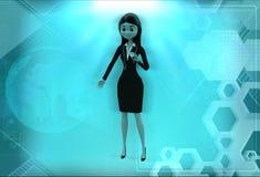 hållande stetoskopillustration för kvinna 3d Arkivfoto
