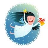 Hållande stjärna för gullig ängelflicka och klockaflyg på kortet för hälsning för glad jul för natt Arkivfoto