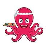Hållande sushiplatta för bläckfisk royaltyfri illustrationer