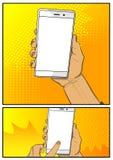 Hållande vit mobiltelefon för hand med den vita skärmen stock illustrationer