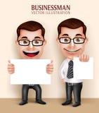 Hållande vitt tomt papper för yrkesmässigt tecken för affärsman för meddelande stock illustrationer
