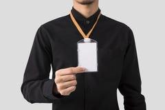 Hållare för emblem för kort för ID för mellanrum för anställdhandvisning för modell royaltyfria bilder