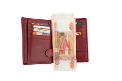 Hållare med pengar och kontokort royaltyfria foton