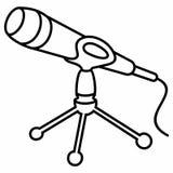Hållare Mic Podcasts för tripodmikrofonställning Royaltyfri Fotografi