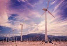 Hållbar makt från vindturbiner, Palm Springs Royaltyfria Foton