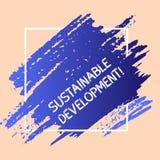 Hållbar utveckling för ordhandstiltext Affärsidé för framkallning utan uttömmning av blåa naturresurser vektor illustrationer