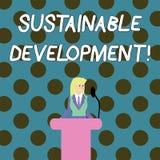 Hållbar utveckling för ordhandstiltext Affärsidé för framkallning utan uttömmning av naturresurser stock illustrationer
