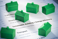 Hållbara byggnadshus arkivbilder