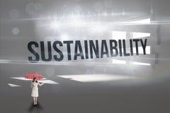 Hållbarhet mot digitalt frambragt rum med gränsat upp fönster arkivfoto