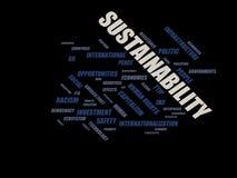 Hållbarhet - ordmolnwordcloud - uttryck från den globalisering-, ekonomi- och politikmiljön stock illustrationer