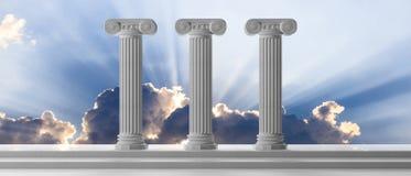 Hållbarhetbegrepp Tre marmorpelare och moment på bakgrund för blå himmel illustration 3d Arkivbild