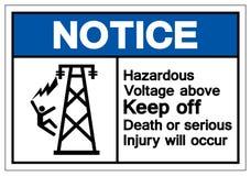 Håller farlig spänning för meddelandet över ut död, eller den allvarliga skadan ska uppstå symboltecknet, vektorillustratio stock illustrationer