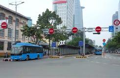 Hållplats i den Hojimin staden Arkivfoto