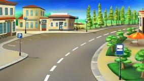 Hållplats och parkering bredvid vägen Arkivbild