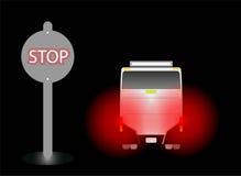 Hållplats och rött ljus av bromsen på hållplatsen i nattbakgrund vektor illustrationer