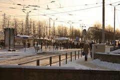 hållplatsspårvagn Fotografering för Bildbyråer