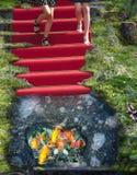 Hålphantasy för röd matta och is Royaltyfri Fotografi