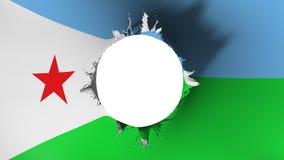 Hålsnitt i den från Djibouti flaggan vektor illustrationer